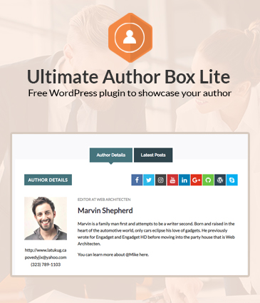 Free Post/Article Author Section Plugin for WordPress - Ultimate Author Box Lite