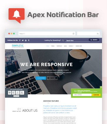 Responsive Notification Bar Plugin for WordPress - Apex Notification Bar