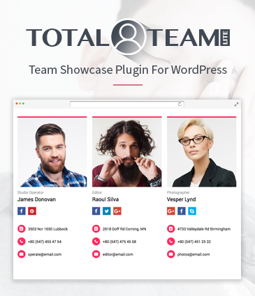 Responsive Team Manager / Showcase Plugin for WordPress - Total Team Lite